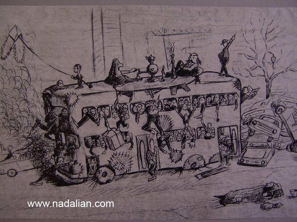 طراحی احمد نادعلیان از اتوبوس شرکت واحد در میدان بهارستان به طرف پیروزی