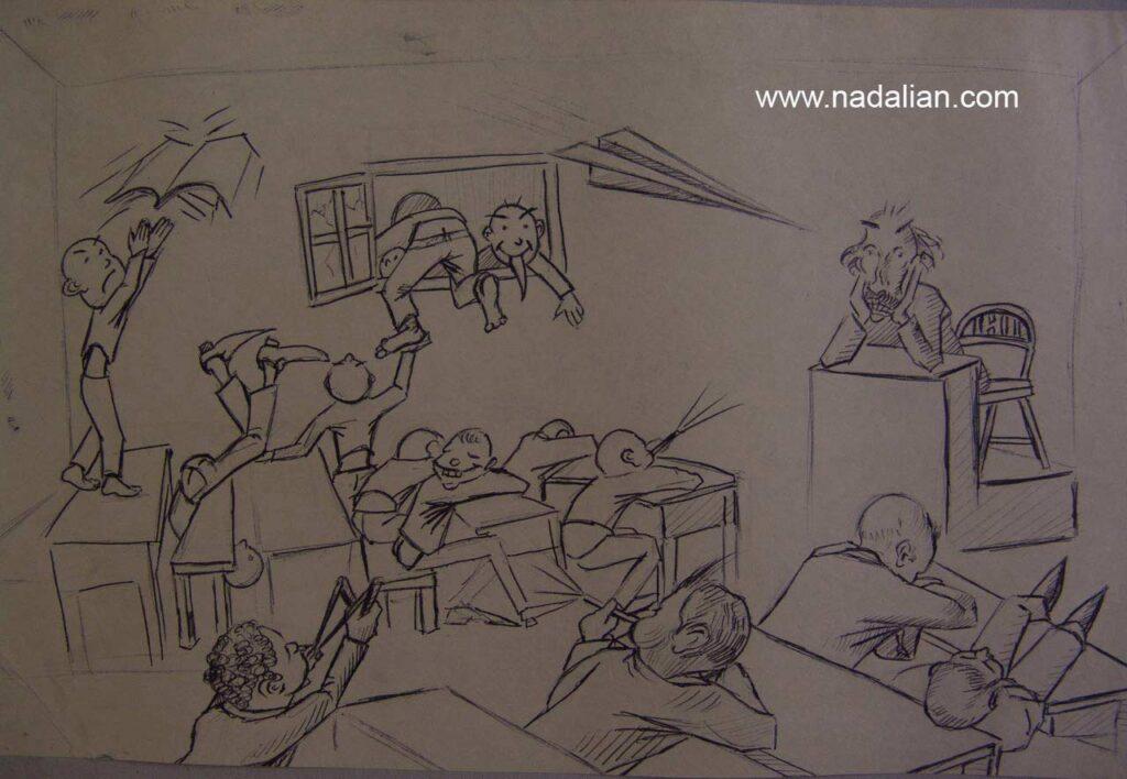 طراحی احمد ناعلیان با خودکار در کلاس درس آقای بیداربخت دبیرستان شریعتی