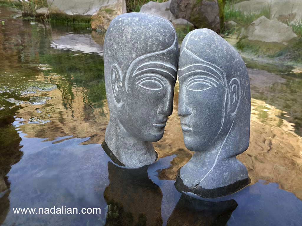 Ahmad Nadalian, sculptures, Stone, installed in river Lovers , Khosrow and Shirin