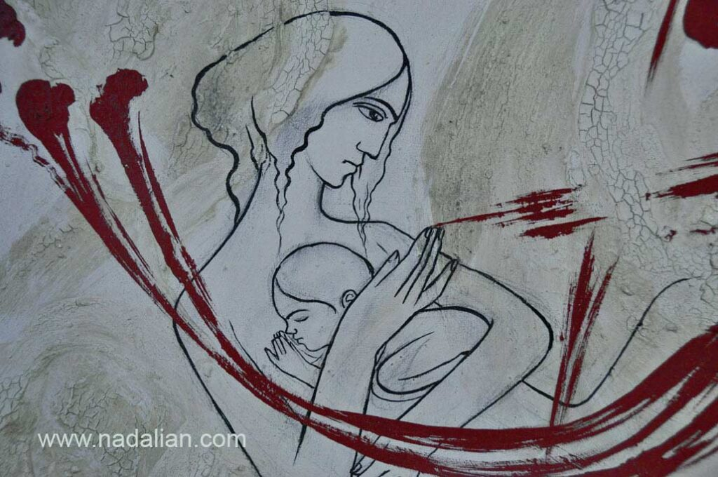 Painting by earth of Qeshm and read earth of Hormuz Island, Ahmad Nadalian