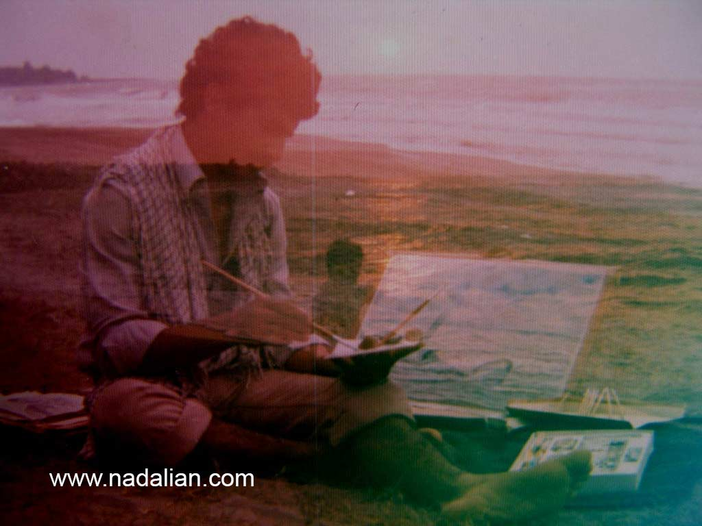 احمد نادعلیان در حال نقاش، ساحل دریای خزر (سیسنگان)