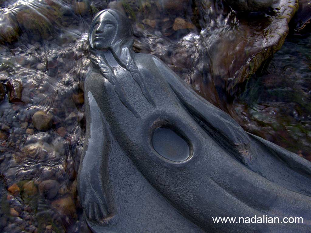 Ahmad Nadalian, sculptures, Stone, installed in river, Anahita, Goddess of Water