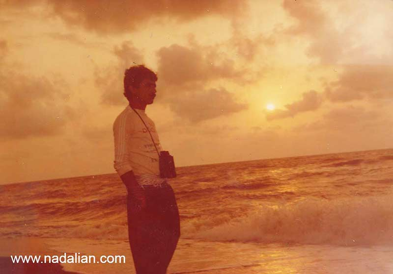 احمد نادعلیان در ساحل دریای خزر (سیسنگان)