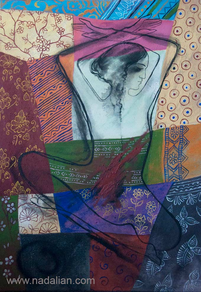 Ahmad Nadalian, Decorative Painting on a base similar to patchwork, Wounded woman