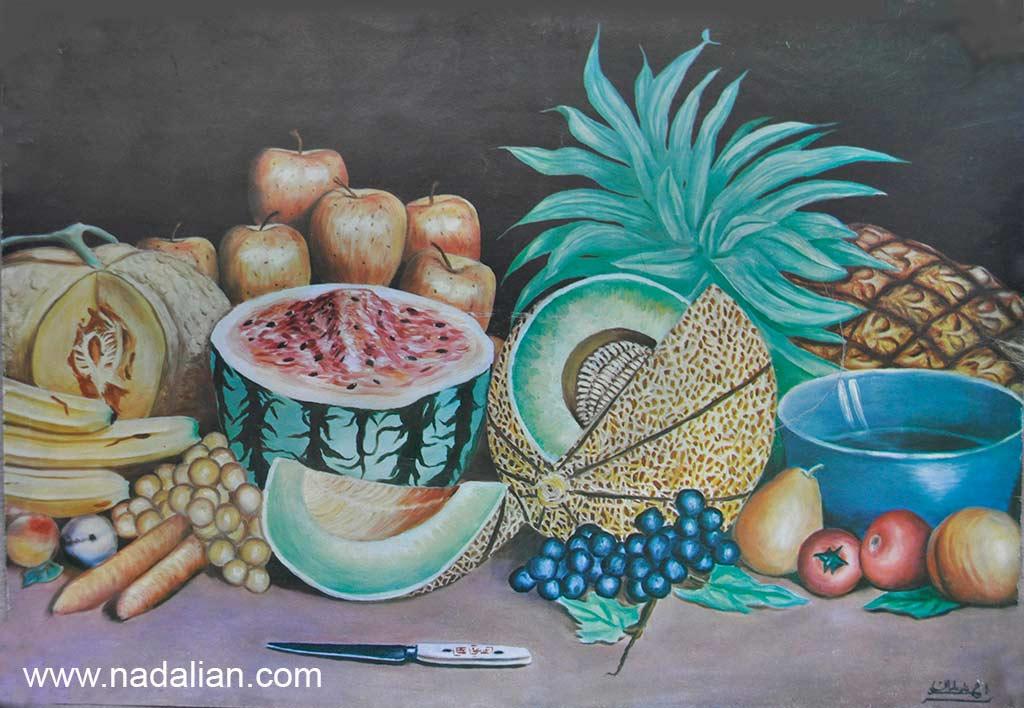 یکی از نقاشی بازاری احمد نادعلیان. پس از آنکه آن را فروخته شد توسط خریدار چاپ شد و به عنوان پوستر در میوه فروشی ها نصب می شد.