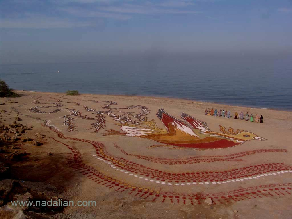 A Fabulous Mythological Bird, Painting by colored soils and sands of Hormuz Island in natural environment, Collaborative works with Hormuz Local People Director Ahmad Nadalian