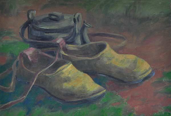 نقاشی رنگ روغن، کفش چوپانی پدربزگ من و کتری مسی خانوادگی برای چادر هیزمی