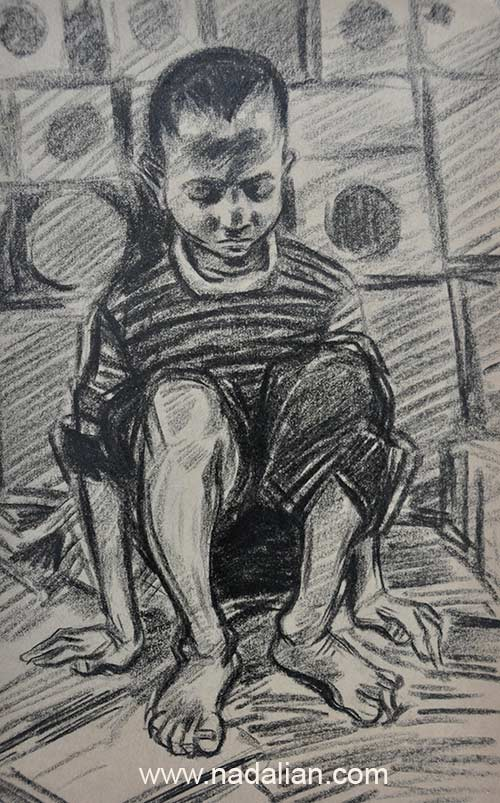 طراحی احمد نادعلیان از کودک نابینا در حلبی آباد کنار قنات و باغ سلیمانی انتهای خیابان نبرد پیروزی در نزدیکی مجتمع تاکسیرانی فعلی
