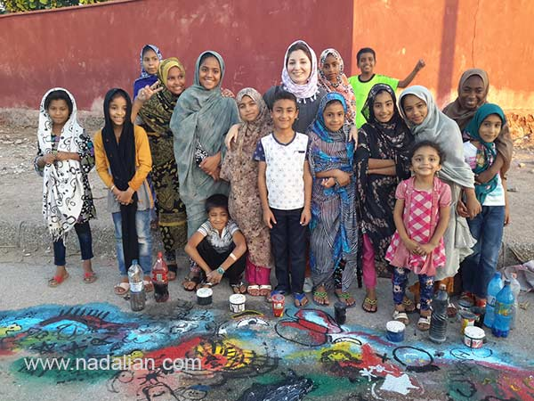 Children and Atefeh Khas Painting in Public Place supported by Dr. Ahmad Nadalian Museum, Hormouz_Island