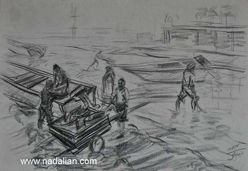 طراحی صیادان در نزدیکی بازار قدیم ماهی فروشان بندر عباس