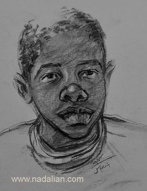 طراحی از چهره یک پسر، احمد نادعلیان، بندر عباس