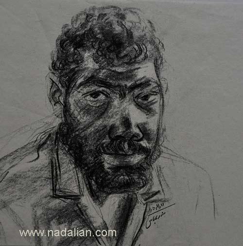 طراحی از چهره یک مرد، احمد نادعلیان، بندر عباس