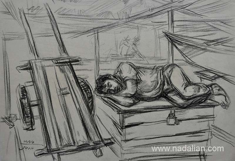 طراحی از مرد ماهی فروش خوابیده، بازار قدیم ماهی فروشان، بندر عباس