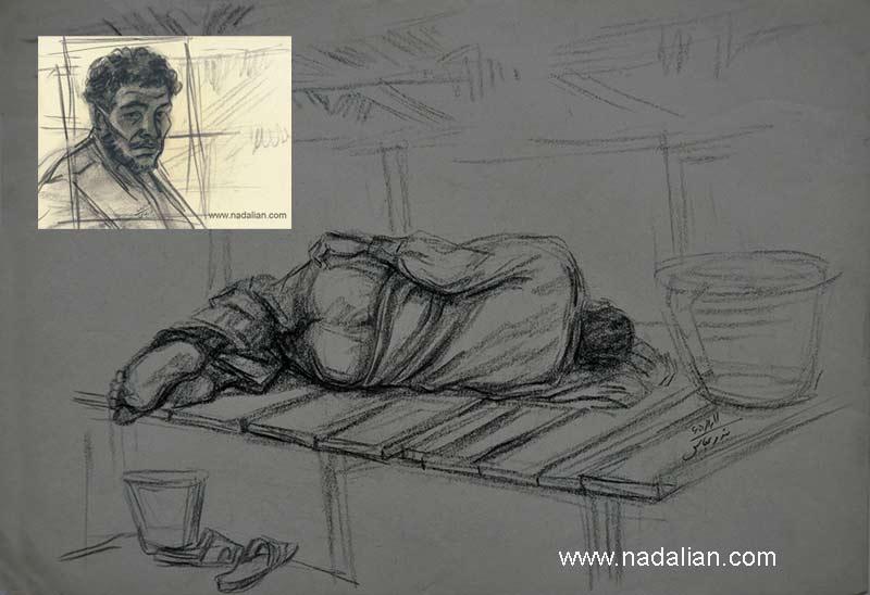 طراحی از مرد ماهی فروش خوابیده و چهره، بازار قدیم ماهی فروشان، بندر عباس