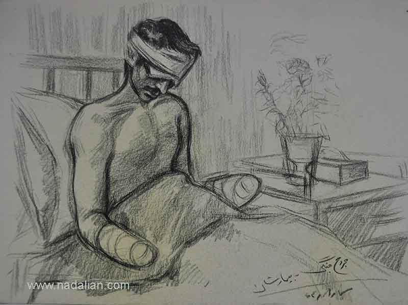 طراحی از یک مجروح جنگی در بیمارستان او چشم ها و دست هایش را از دست داده بود.