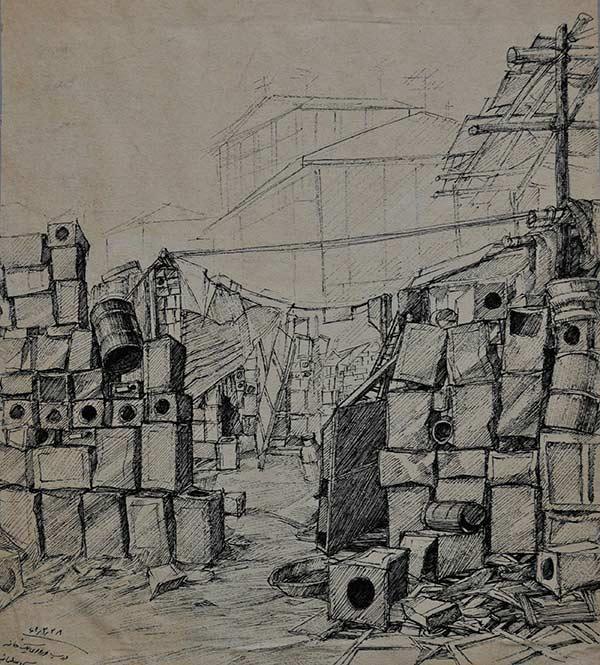 طراحی احمد نادعلیان از حلبی آباد کنار قنات و باغ سلیمانی انتهای خیابان نبرد پیروزی در نزدیکی مجتمع تاکسیرانی فعلی