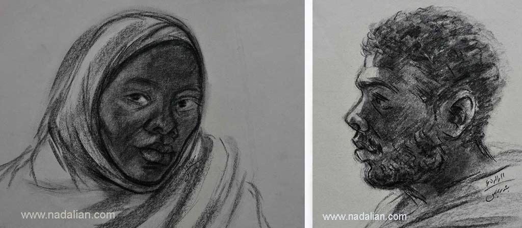 طراحی از یک مرد و زن، احمد نادعلیان، بندر عباس
