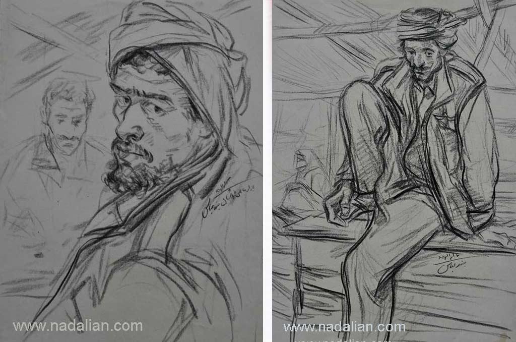 طراحی از مرد ماهی فروش ، بازار قدیم ماهی فروشان، بندر عباس