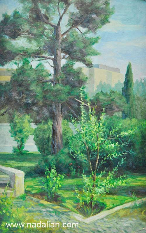 نقاشی احمد نادعلیان از محوطه جنوب غربی دانشگاه تهران