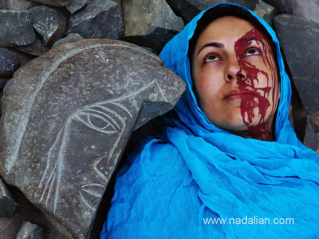 Performance of the wounded goddess anddestroyed art works of Ahmad Nadalian in nature
