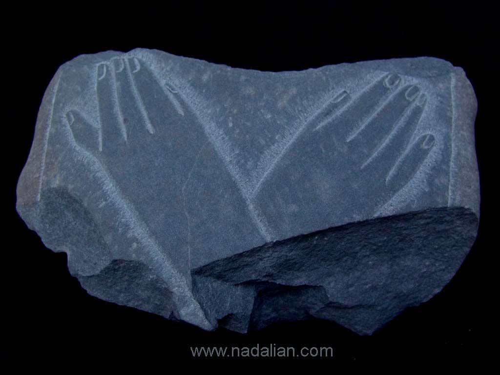 Stone showing goddess destroyed art works of Ahmad Nadalian in nature