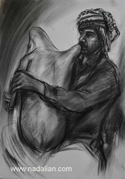 طراحی احمد نادعلیان از نوازنده نی انبان بندر کنگ، غرب هرمزگان
