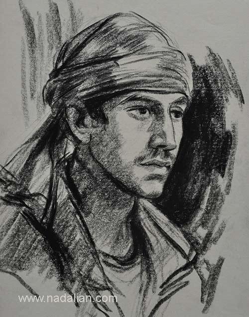 طراحی احمد نادعلیان از یک مرد جوان ، غرب هرمزگان