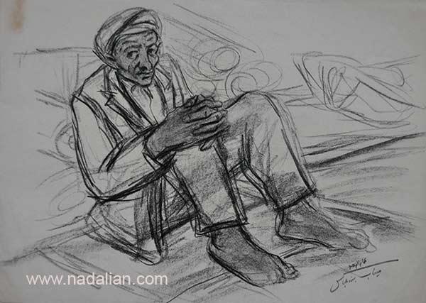 طراح از یک پیرمرد در پنجشنبه بازار میناب سال 1365