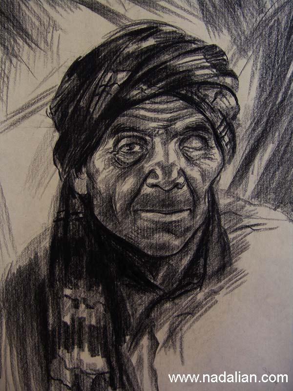 طراحی از یک آهنگر که یک چشمش نابینا بود- ساحل بندر عباس