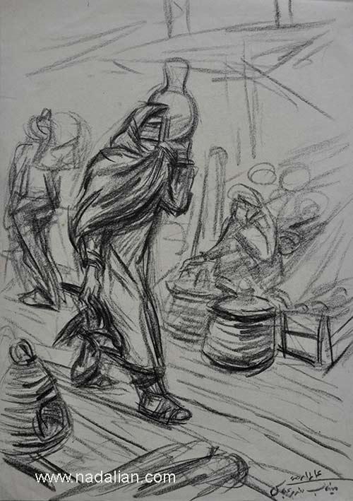 طراحی از یک زن با جهله، پنجشنبه بازار میناب سال 1365