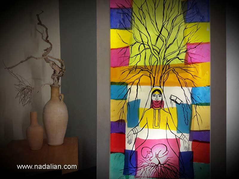 طراحی چراغ خواب با استفاده از پارچه نقاشی پشت شیشه، طرح احمد نادعلیان و اجرا دختران روستای سلخ قشم