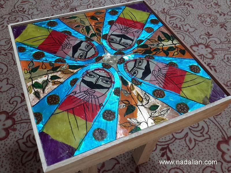 میز و جعبه نوری با استفاده از پارچه نقاشی پشت شیشه روستای سلخ قشم