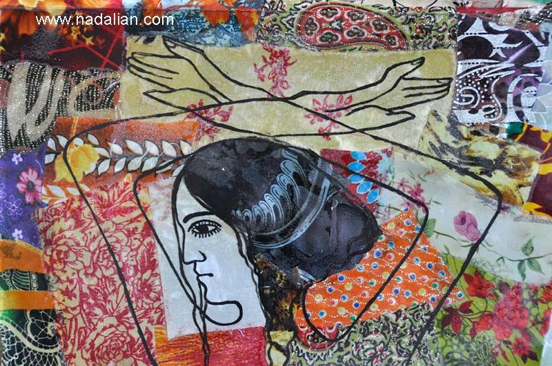 پارچه نقاشی پشت شیشه طرح از اخمد ناعلیان، انتخاب رنگ و نفوش توسط دختران سلخ