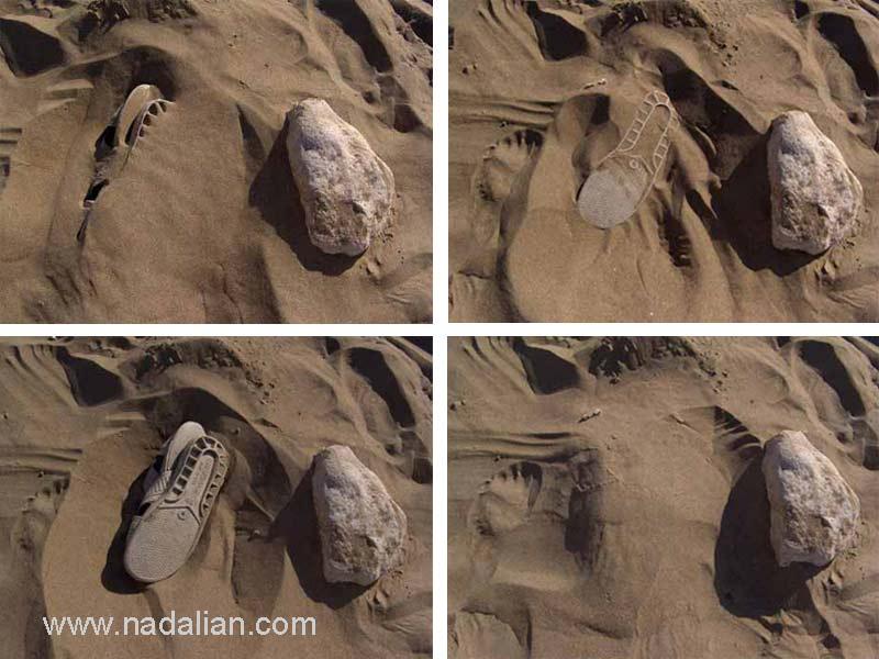 دمپایی پنهان شده یک صیاد در ماسه ها، بندر عباس، صبح روز 15 دیماه 1385