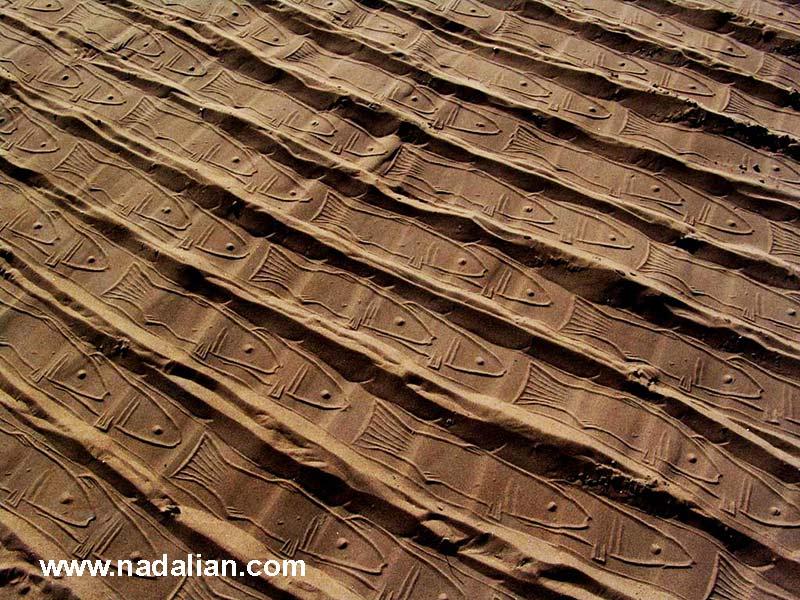 ماسه چاپ های احمد نادعلیان، ساحل سوروی بندر عباس دیماه 1385، کارگاه مجسمه شنی و صخره ای