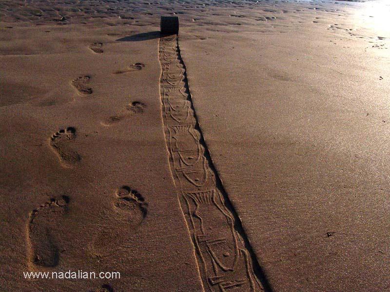 چاپ نقش ماهی با مهر استوانه ای و رد پای احمد نادعلیان، جزیره هرمز- سنگ مرغان، عصر روز 13 دیماه 1385
